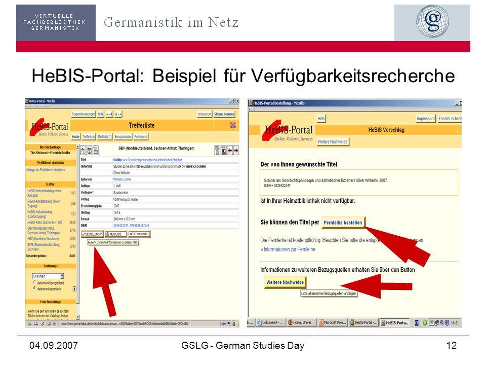 04.09.2007GSLG - German Studies Day12 HeBIS-Portal: Beispiel für Verfügbarkeitsrecherche