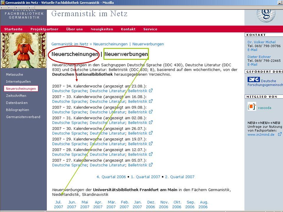 04.09.2007GSLG - German Studies Day14 Neuerscheinungen / Neuerwerbungen