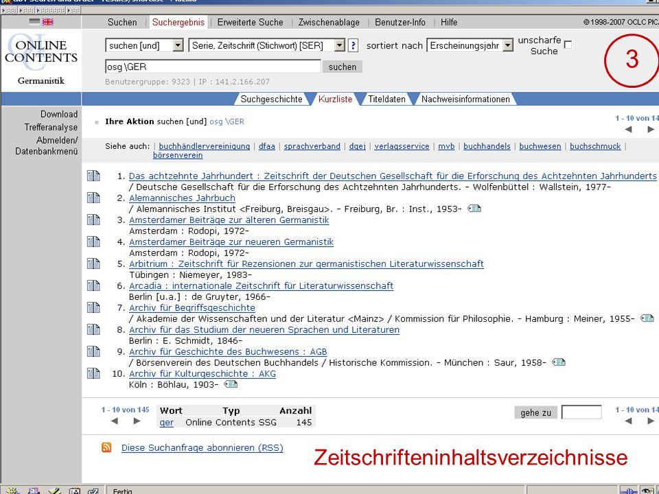 04.09.2007GSLG - German Studies Day21 3 Zeitschrifteninhaltsverzeichnisse