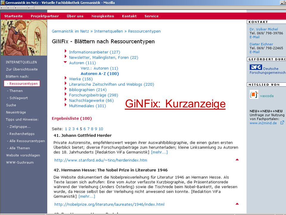 04.09.2007GSLG - German Studies Day29 GiNFix: Kurzanzeige