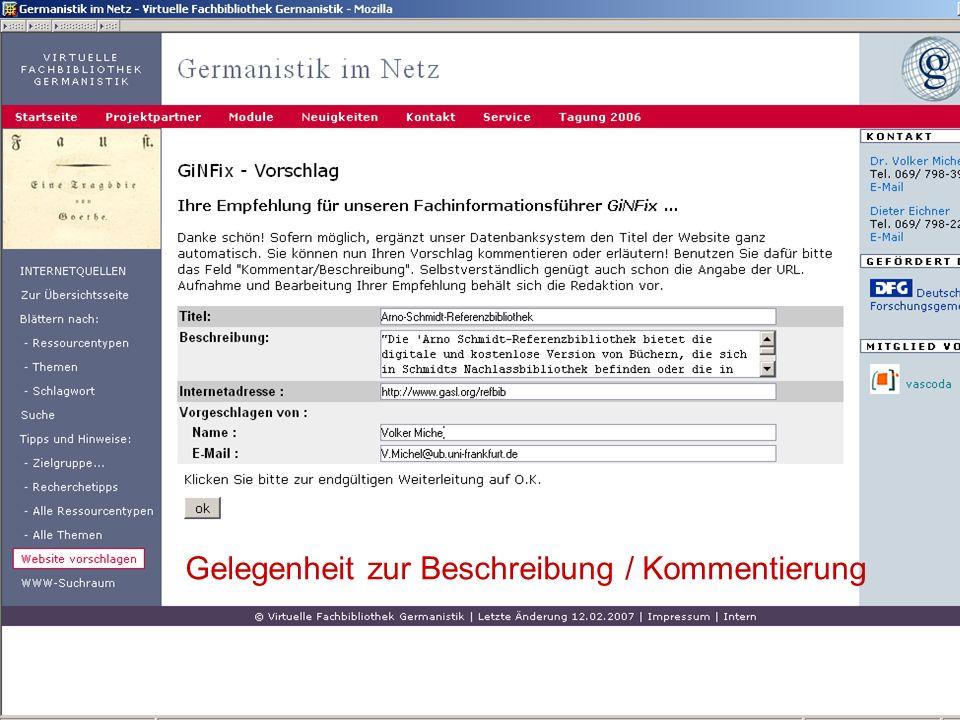 04.09.2007GSLG - German Studies Day34 Gelegenheit zur Beschreibung / Kommentierung