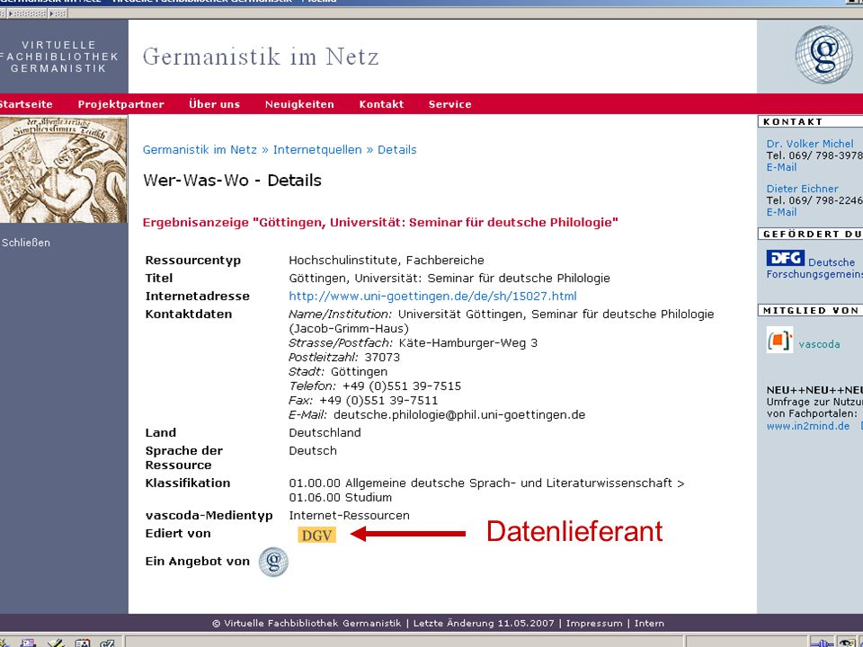 04.09.2007GSLG - German Studies Day38 Datenlieferant