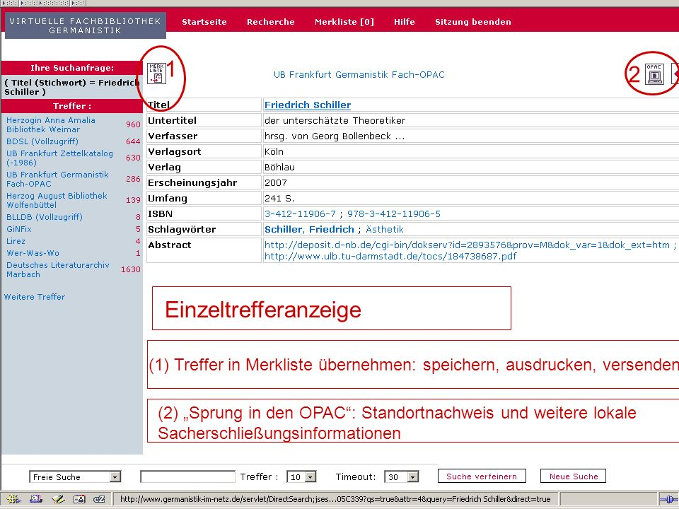 04.09.2007GSLG - German Studies Day9 Metadaten inklusive WWW-Quellen teilweise Volltextzugriff…