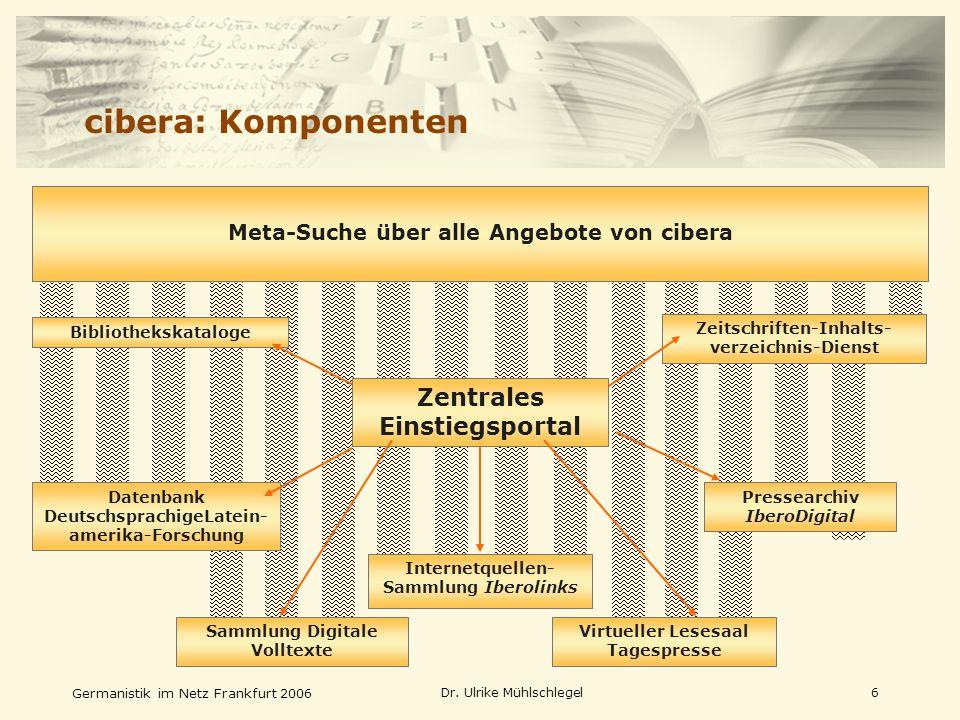 Germanistik im Netz Frankfurt 2006 Dr. Ulrike Mühlschlegel6 Internetquellen- Sammlung Iberolinks Pressearchiv IberoDigital Datenbank DeutschsprachigeL