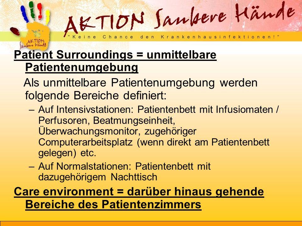 Patient Surroundings = unmittelbare Patientenumgebung Als unmittelbare Patientenumgebung werden folgende Bereiche definiert: –Auf Intensivstationen: P