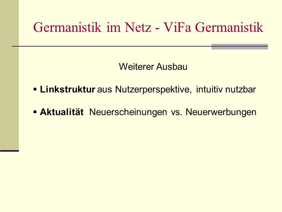 Germanistik im Netz - ViFa Germanistik Weiterer Ausbau Linkstruktur aus Nutzerperspektive, intuitiv nutzbar AktualitätNeuerscheinungen vs.