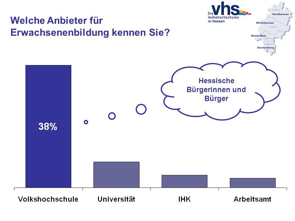 Welche Anbieter für Erwachsenenbildung kennen Sie? Hessische Bürgerinnen und Bürger