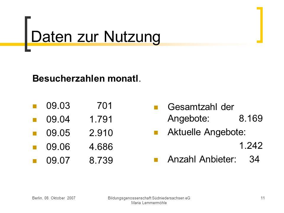Berlin, 08. Oktober 2007Bildungsgenossenschaft Südniedersachsen eG Maria Lemmermöhle 11 Daten zur Nutzung Besucherzahlen monatl. 09.03 701 09.041.791