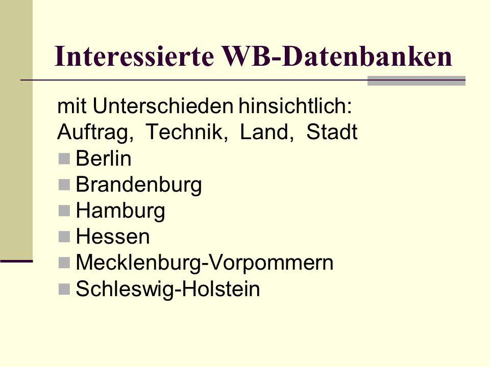 Interessierte WB-Datenbanken mit Unterschieden hinsichtlich: Auftrag, Technik, Land, Stadt Berlin Brandenburg Hamburg Hessen Mecklenburg-Vorpommern Schleswig-Holstein