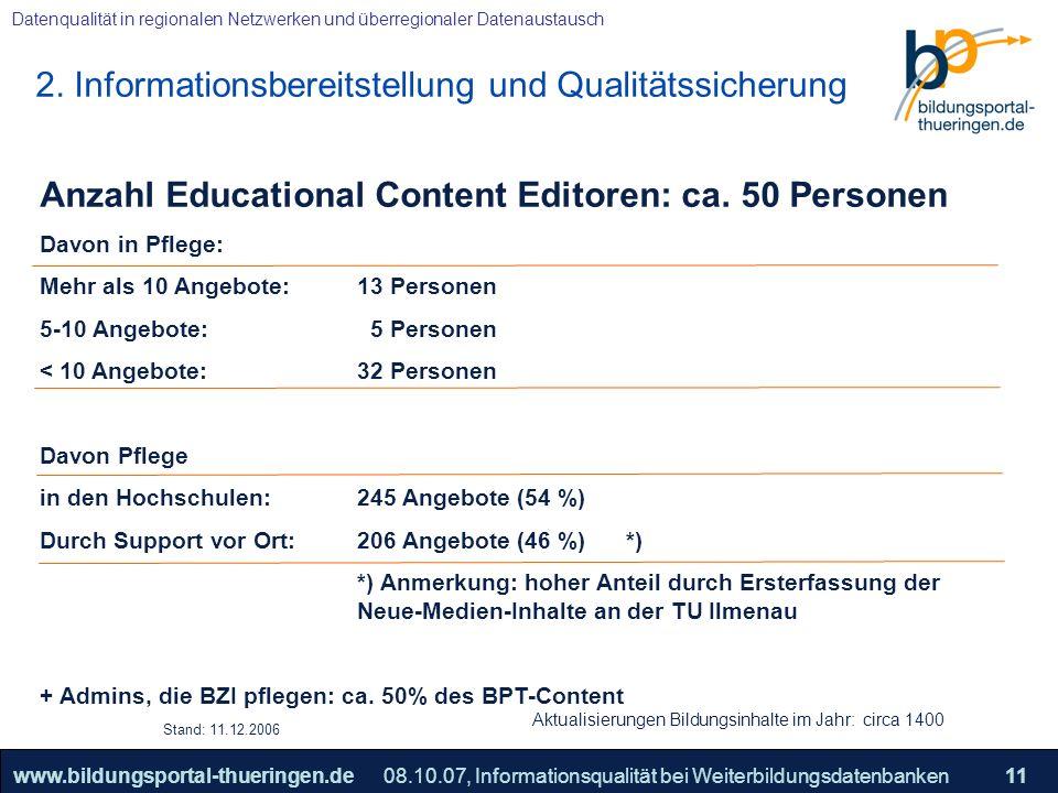 25.05.2005, Geschäftsmodell S. 11 >>22www.bildungsportal-thueringen.de11 Datenqualität in regionalen Netzwerken und überregionaler Datenaustausch 08.1