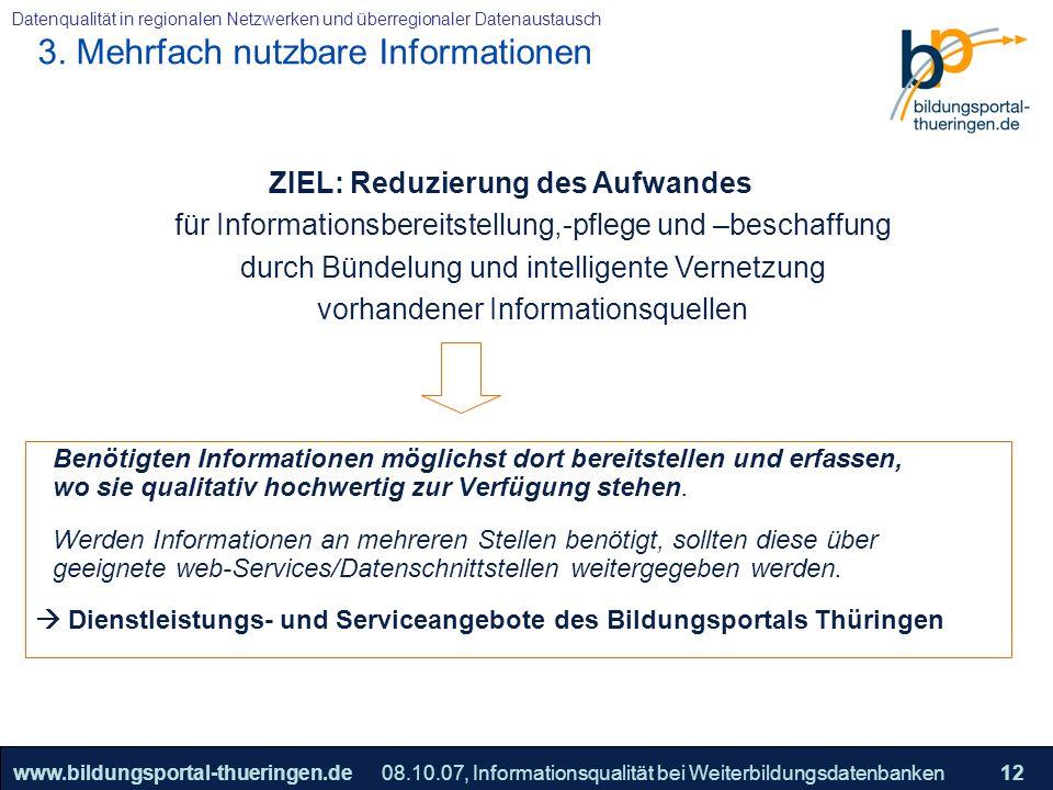25.05.2005, Geschäftsmodell S. 12 >>22www.bildungsportal-thueringen.de12 Datenqualität in regionalen Netzwerken und überregionaler Datenaustausch 08.1