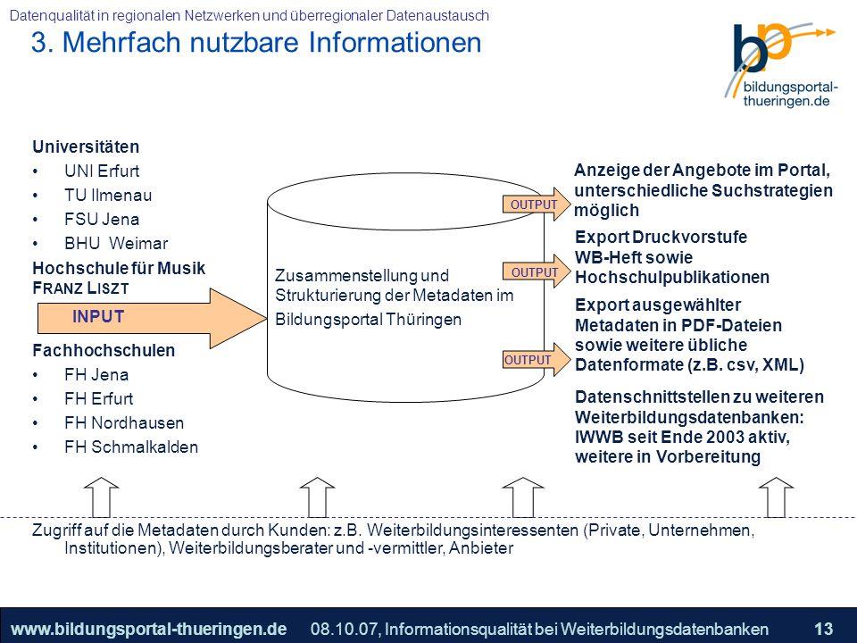 25.05.2005, Geschäftsmodell S. 13 >>22www.bildungsportal-thueringen.de13 Datenqualität in regionalen Netzwerken und überregionaler Datenaustausch 08.1