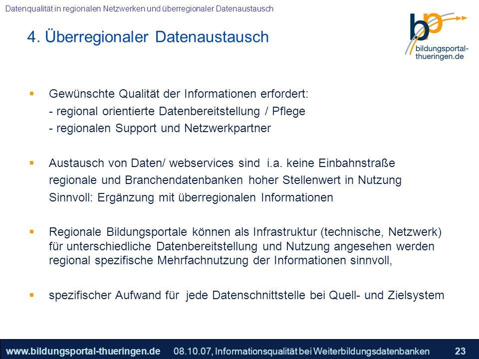 25.05.2005, Geschäftsmodell S. 23 >>22www.bildungsportal-thueringen.de23 Datenqualität in regionalen Netzwerken und überregionaler Datenaustausch 08.1