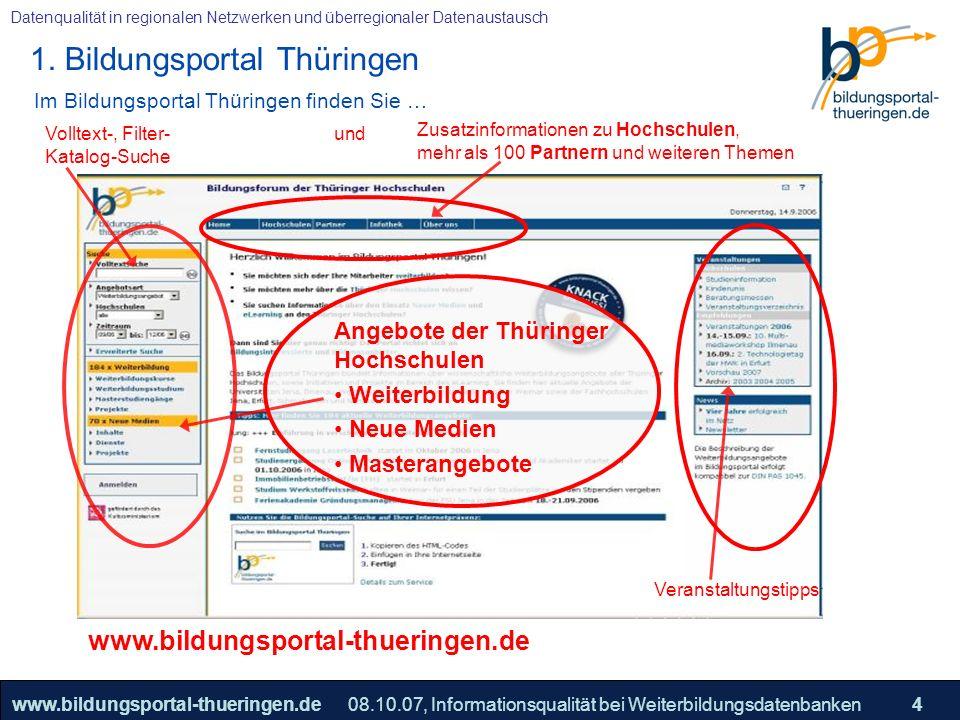 25.05.2005, Geschäftsmodell S. 4 >>22www.bildungsportal-thueringen.de4 Datenqualität in regionalen Netzwerken und überregionaler Datenaustausch 08.10.