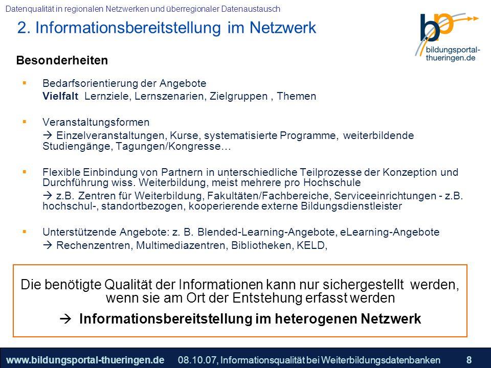 25.05.2005, Geschäftsmodell S. 8 >>22www.bildungsportal-thueringen.de8 Datenqualität in regionalen Netzwerken und überregionaler Datenaustausch 08.10.