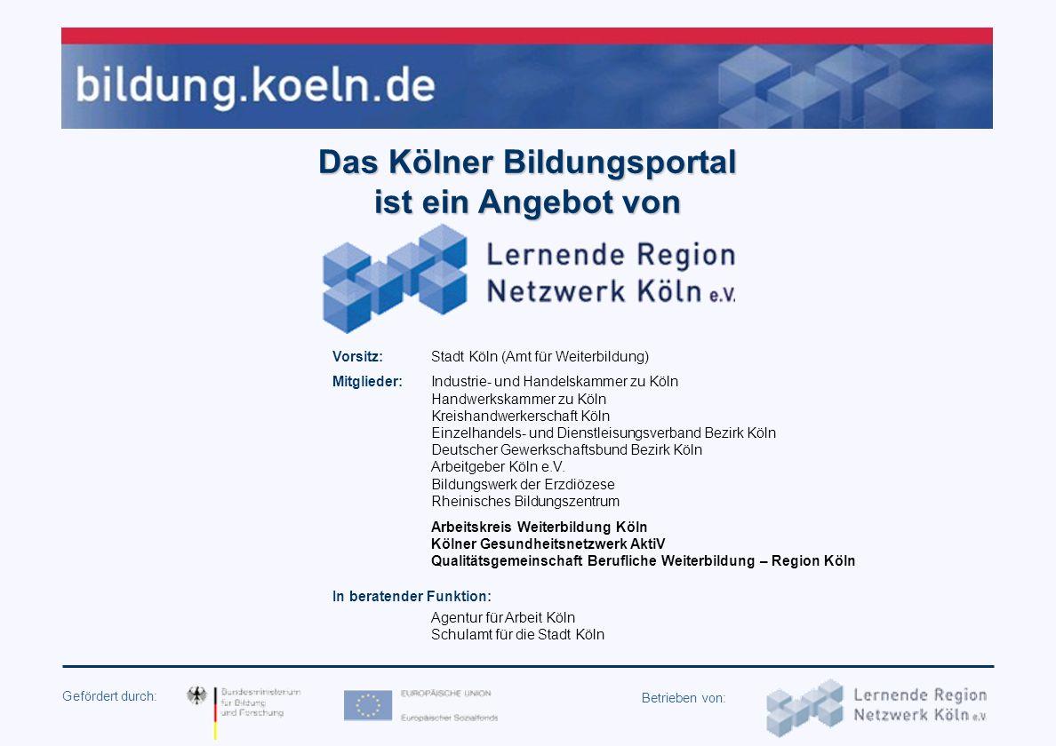 Gefördert durch: Betrieben von: Workshop Informationsqualität bei Weiterbildungsdatenbanken am 8. Oktober 2007 in Berlin Erfahrungen und Qualitätssich
