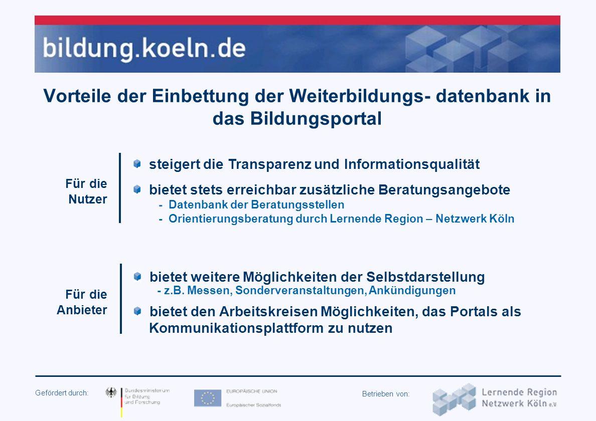 Gefördert durch: Betrieben von: Der Aufbau des Kölner Bildungsportals (seit September 2004 am Netz - 65.000 Visits/Monat) Redaktionelle Seiten Rubrike