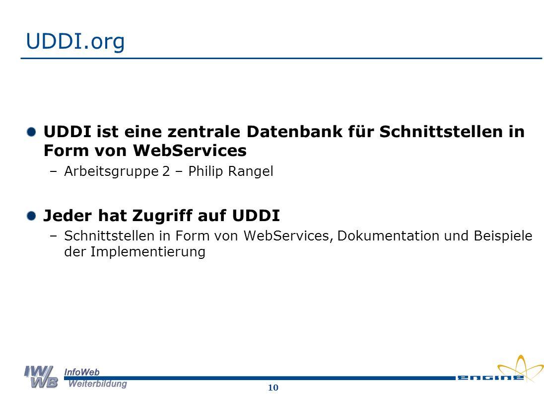 10 UDDI.org UDDI ist eine zentrale Datenbank für Schnittstellen in Form von WebServices –Arbeitsgruppe 2 – Philip Rangel Jeder hat Zugriff auf UDDI –Schnittstellen in Form von WebServices, Dokumentation und Beispiele der Implementierung