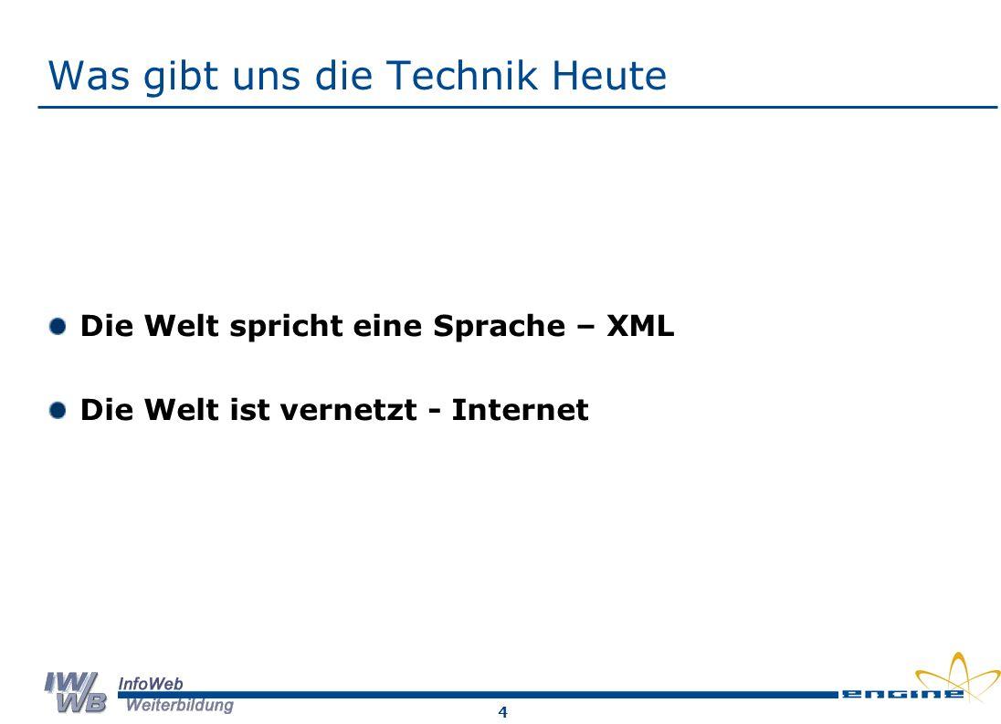 4 Was gibt uns die Technik Heute Die Welt spricht eine Sprache – XML Die Welt ist vernetzt - Internet