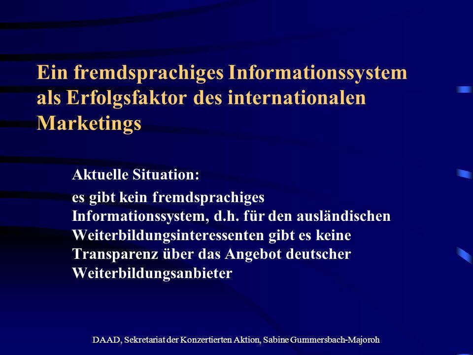DAAD, Sekretariat der Konzertierten Aktion, Sabine Gummersbach-Majoroh Ein fremdsprachiges Informationssystem als Erfolgsfaktor des internationalen Ma