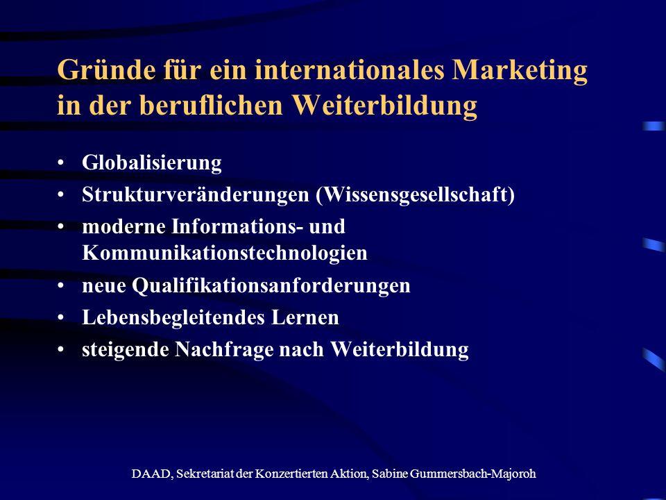 DAAD, Sekretariat der Konzertierten Aktion, Sabine Gummersbach-Majoroh Folgen einer steigenden Nachfrage nach Weiterbildung steigende Zahl von Weiterbildungsanbietern national und international (in D zwischen 5.000 und 35.000) Weiterbildung als Dienstleistungsprodukt globaler Bildungsmarkt (ca.