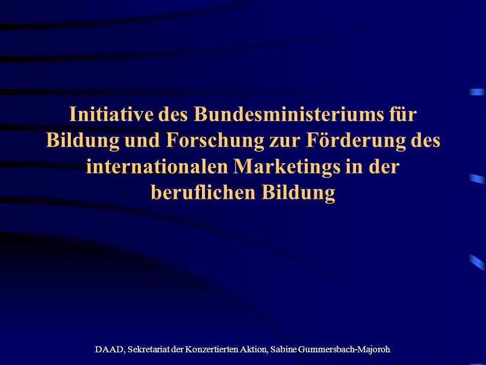 DAAD, Sekretariat der Konzertierten Aktion, Sabine Gummersbach-Majoroh Phase 1: Workshop und Fachtagung mit nationalen und internationalen Weiterbildungsexperten Ziel: Beginn eines Dialoges über Herausforderungen und Strategien eines wachsenden internationalen Weiterbildungsmarktes