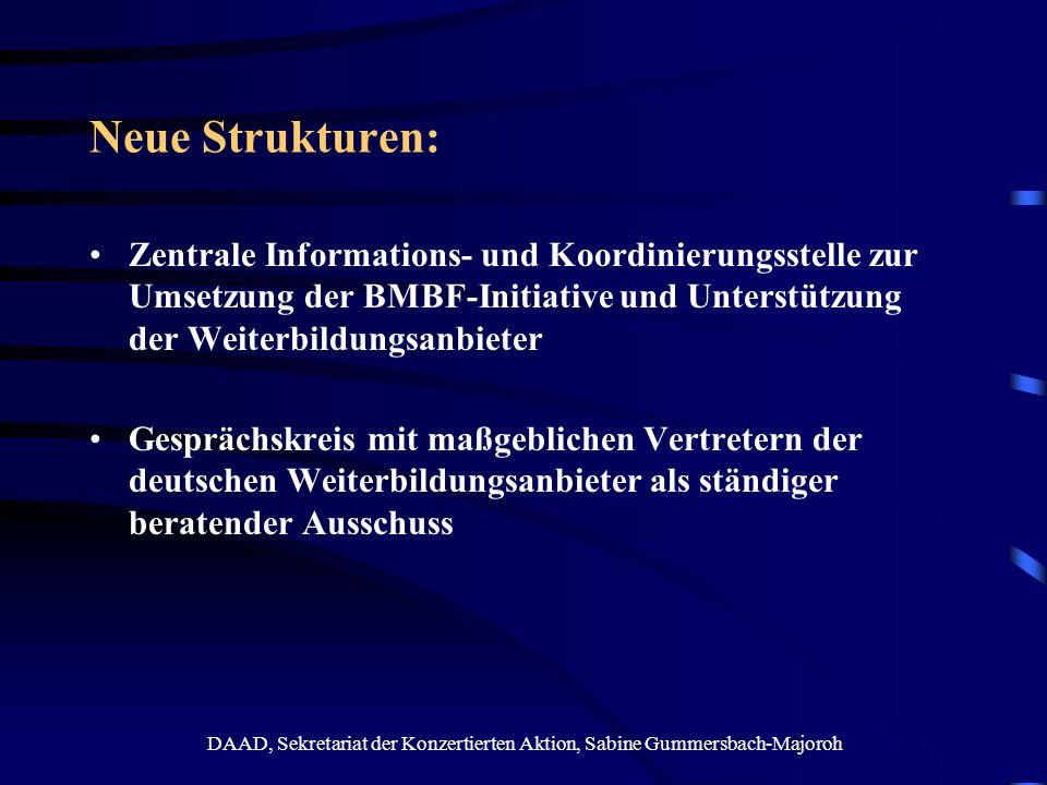 DAAD, Sekretariat der Konzertierten Aktion, Sabine Gummersbach-Majoroh Neue Aktivitäten Studie zur Identifizierung von good-practice-Beispielen weitere Studien und Analysen (u.a.