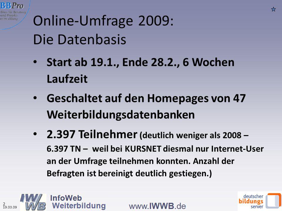 Online-Umfrage 2009: Die Datenbasis Start ab 19.1., Ende 28.2., 6 Wochen Laufzeit Geschaltet auf den Homepages von 47 Weiterbildungsdatenbanken 2.397 Teilnehmer (deutlich weniger als 2008 – 6.397 TN – weil bei KURSNET diesmal nur Internet-User an der Umfrage teilnehmen konnten.