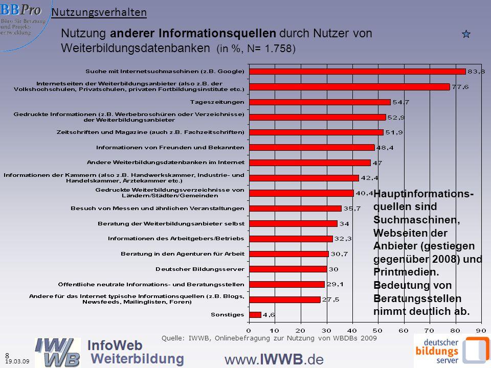 Nutzung anderer Informationsquellen durch Nutzer von Weiterbildungsdatenbanken (in %, N= 1.758) Hauptinformations- quellen sind Suchmaschinen, Webseiten der Anbieter (gestiegen gegenüber 2008) und Printmedien.