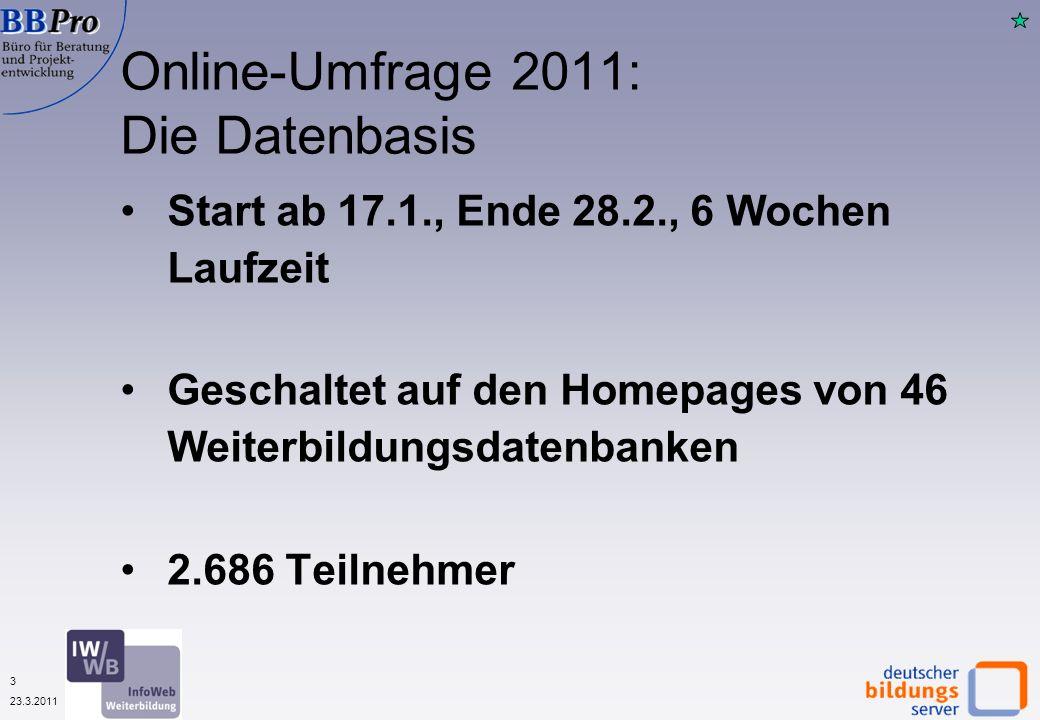 3 23.3.2011 Start ab 17.1., Ende 28.2., 6 Wochen Laufzeit Geschaltet auf den Homepages von 46 Weiterbildungsdatenbanken 2.686 Teilnehmer Online-Umfrage 2011: Die Datenbasis