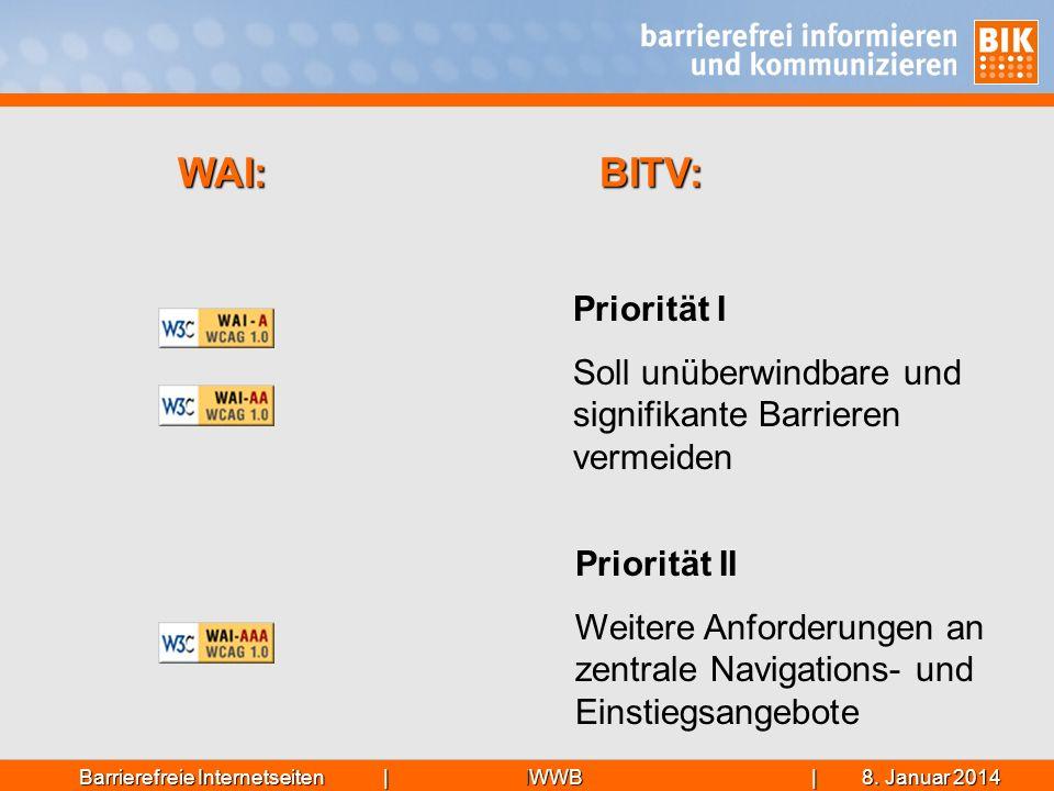 IWWB| 8. Januar 20148. Januar 20148. Januar 2014Barrierefreie Internetseiten | Priorität I Soll unüberwindbare und signifikante Barrieren vermeiden Pr