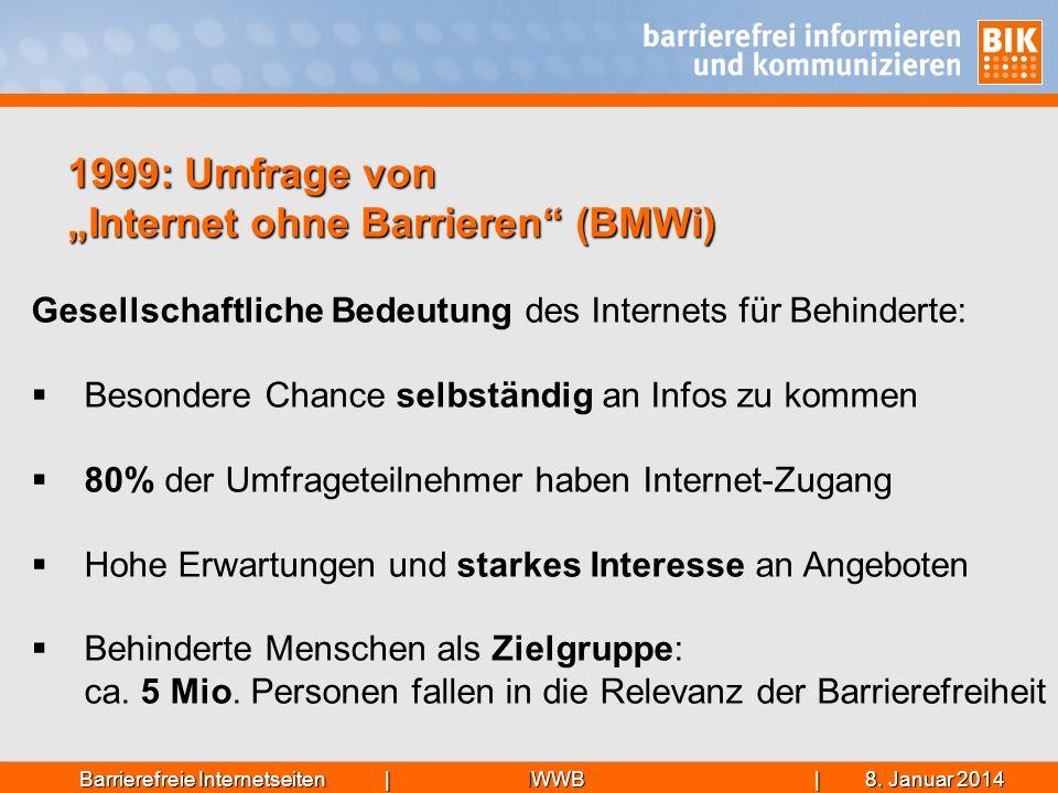 IWWB| 8. Januar 20148. Januar 20148. Januar 2014Barrierefreie Internetseiten | 1999: Umfrage von Internet ohne Barrieren (BMWi) Gesellschaftliche Bede