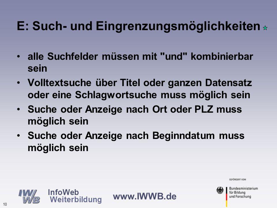 www.IWWB.de 9 InfoWeb Weiterbildung D: Informationen für Behinderte Keine Merkmale erhielten einen Medianwert von 1, drei Merkmale mit Median = 2 Vors