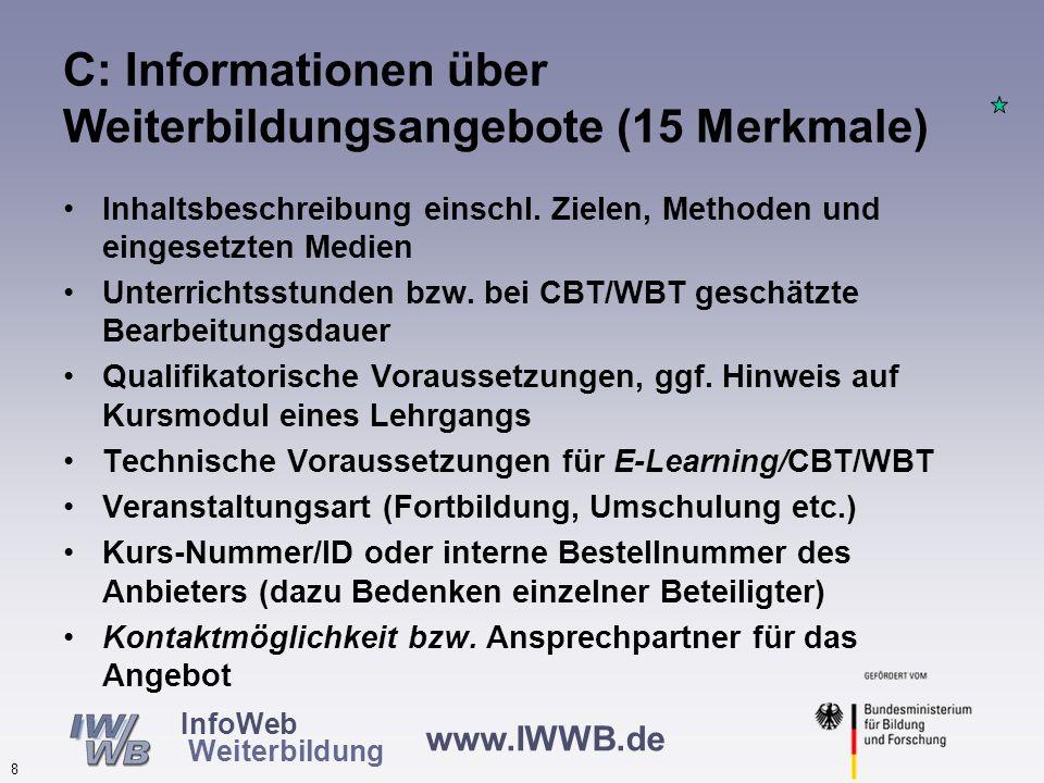www.IWWB.de 7 InfoWeb Weiterbildung C: Informationen über Weiterbildungsangebote (15 Merkmale) Bezeichnung des Angebots Anfangs- und Endtermin, falls