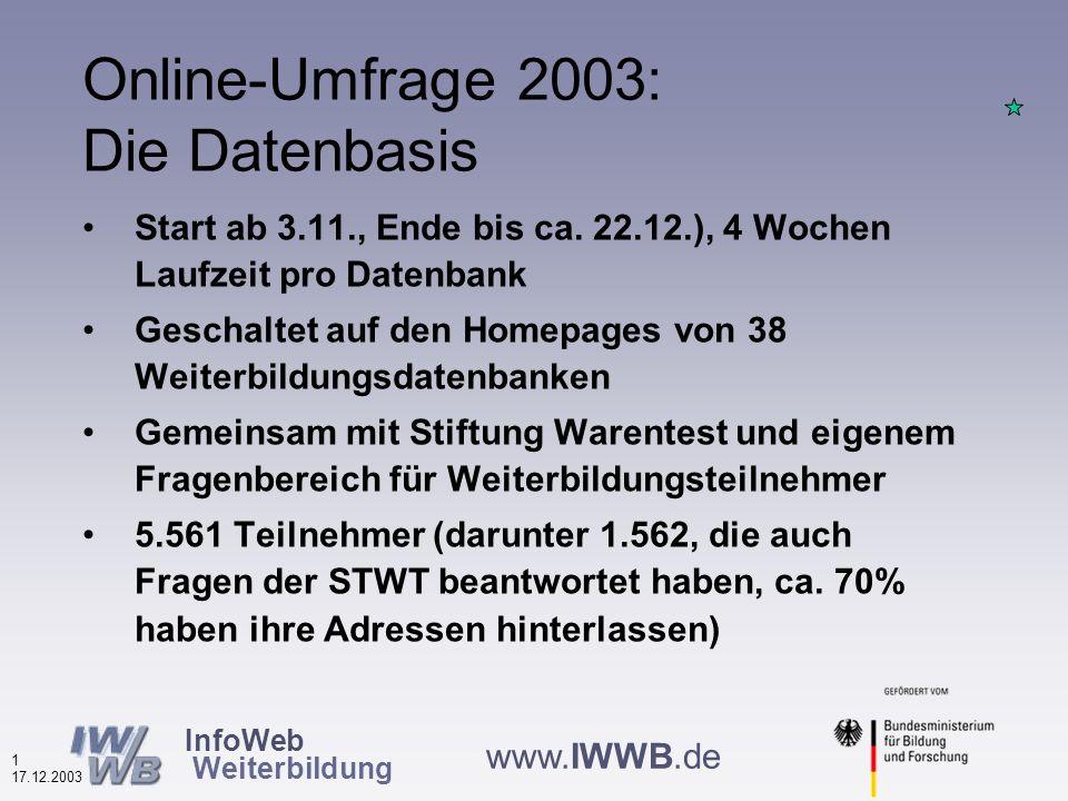 InfoWeb Weiterbildung 0 17.12.2003 www.IWWB.de Nutzung von Weiterbildungsdatenbanken 2003 Ergebnisse einer Online-Befragung von Nutzerinnen und Nutzern Wolfgang Plum BBPro - Büro für Beratung und Projektentwicklung Stresemannstr.