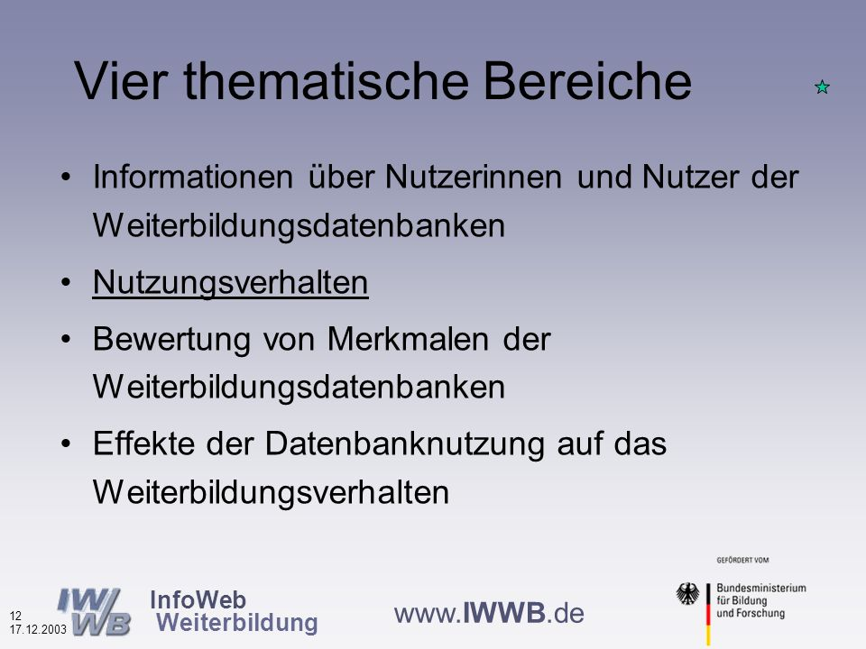 InfoWeb Weiterbildung 11 17.12.2003 www.IWWB.de Bevorzuge qualitätsgeprüfte Anbieter und Angebote (nach Datenbanktypen in %, N=5.341) Die meisten bevorzugen qualitätsgeprüfte Anbieter/Angebote