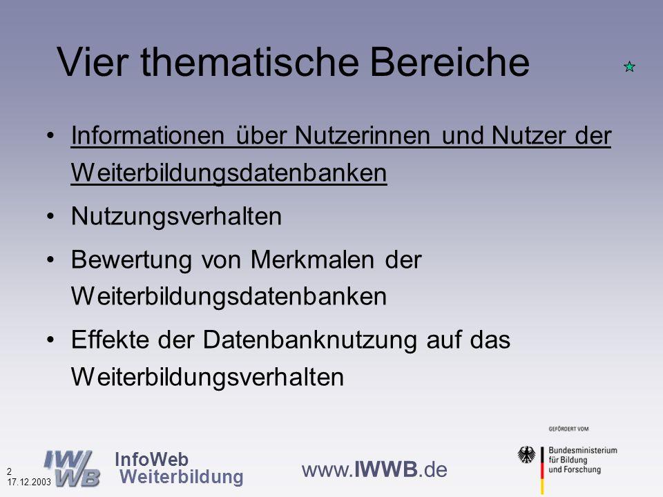 InfoWeb Weiterbildung 1 17.12.2003 www.IWWB.de Start ab 3.11., Ende bis ca.