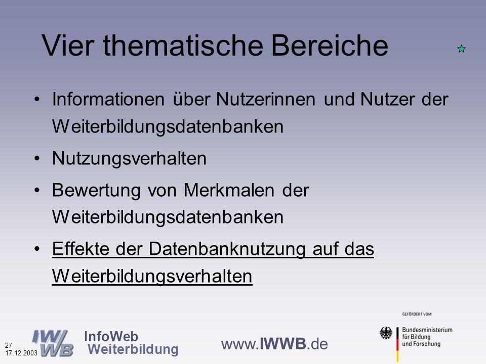 InfoWeb Weiterbildung 26 17.12.2003 www.IWWB.de Würden Sie die Datenbank weiterempfehlen.