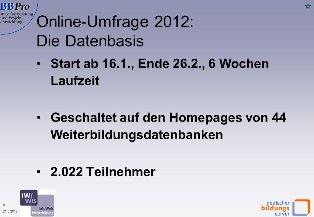 3 21.3.2012 Start ab 16.1., Ende 26.2., 6 Wochen Laufzeit Geschaltet auf den Homepages von 44 Weiterbildungsdatenbanken 2.022 Teilnehmer Online-Umfrage 2012: Die Datenbasis