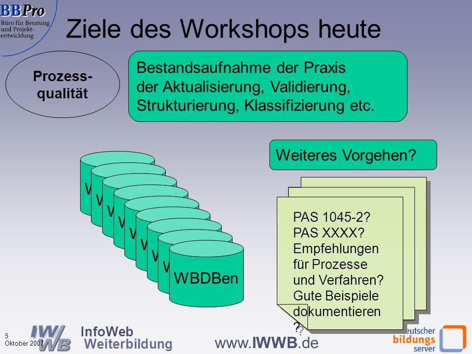 InfoWeb Weiterbildung 4 Oktober 2007 www.IWWB.de Struktur- qualität Prozess- qualität Ergebnis- qualität PAS 1045 Inhalte, Suchmöglichkeiten Datenaust