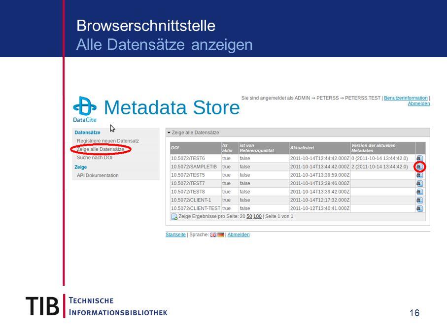 16 Browserschnittstelle Alle Datensätze anzeigen