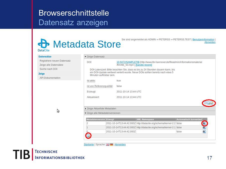 17 Browserschnittstelle Datensatz anzeigen