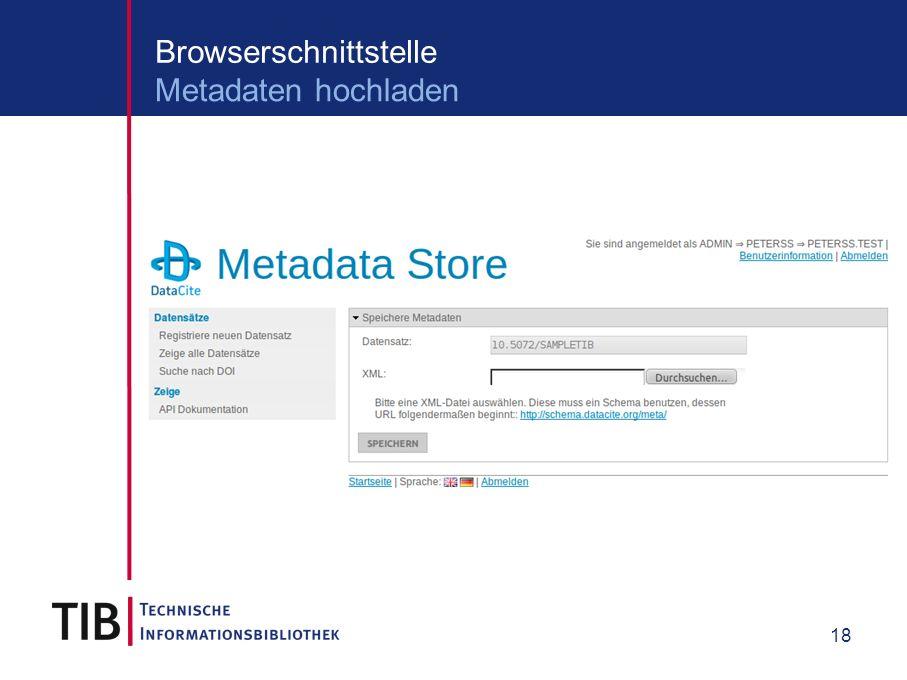 18 Browserschnittstelle Metadaten hochladen