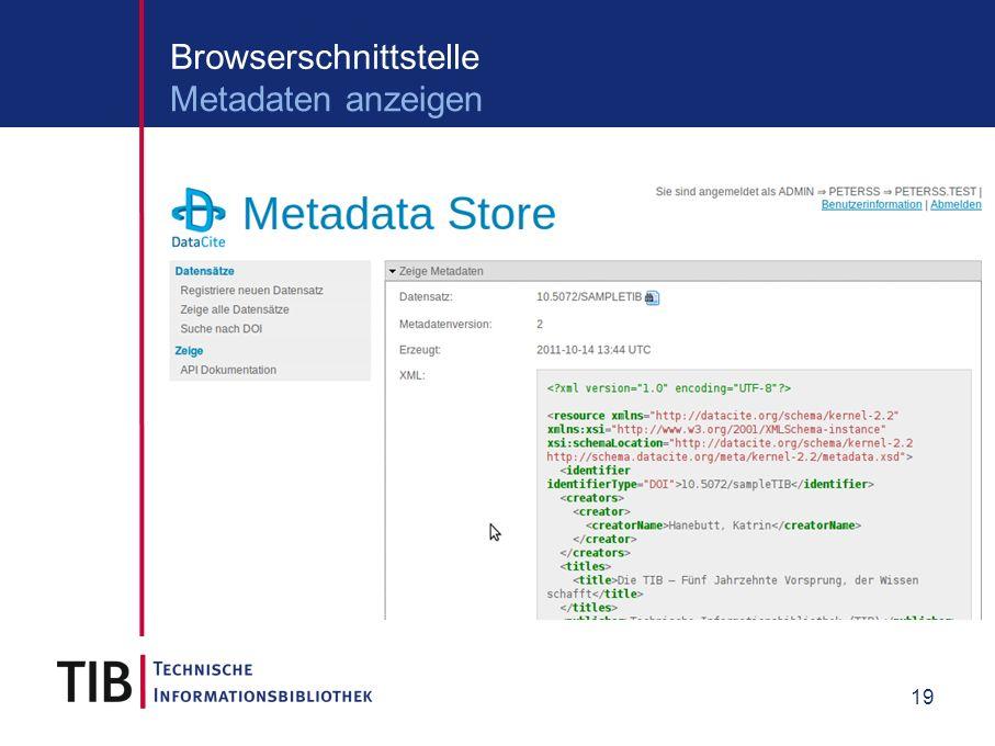 19 Browserschnittstelle Metadaten anzeigen