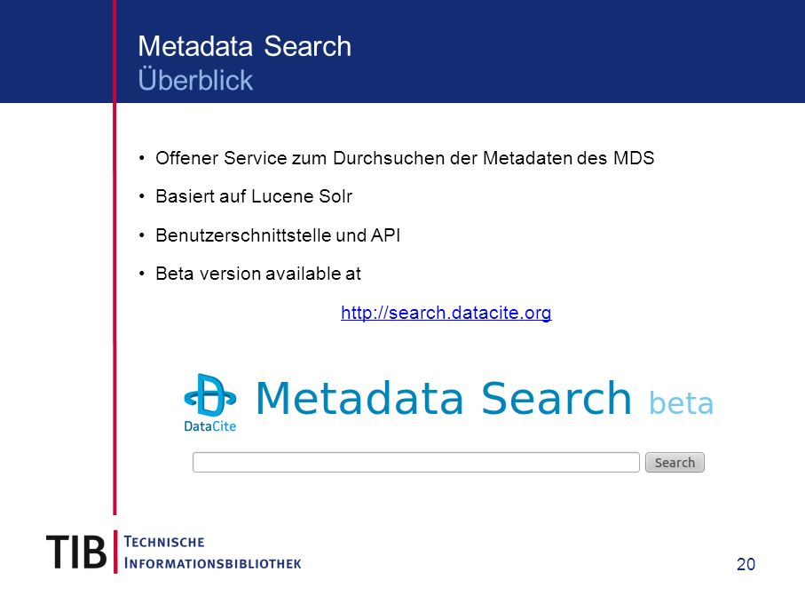 21 Metadata Search Ergebnisliste