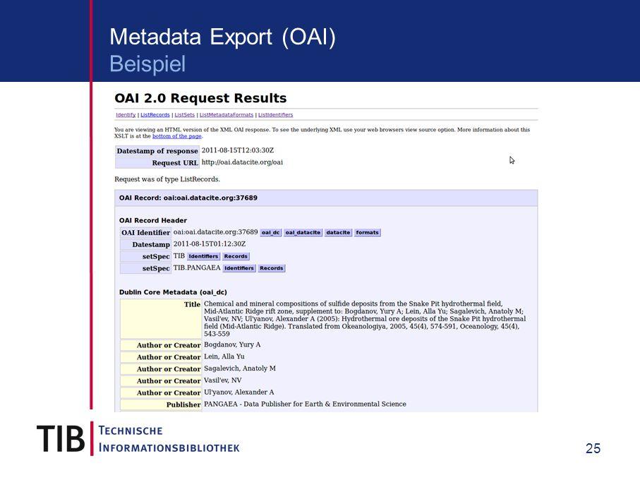 25 Metadata Export (OAI) Beispiel