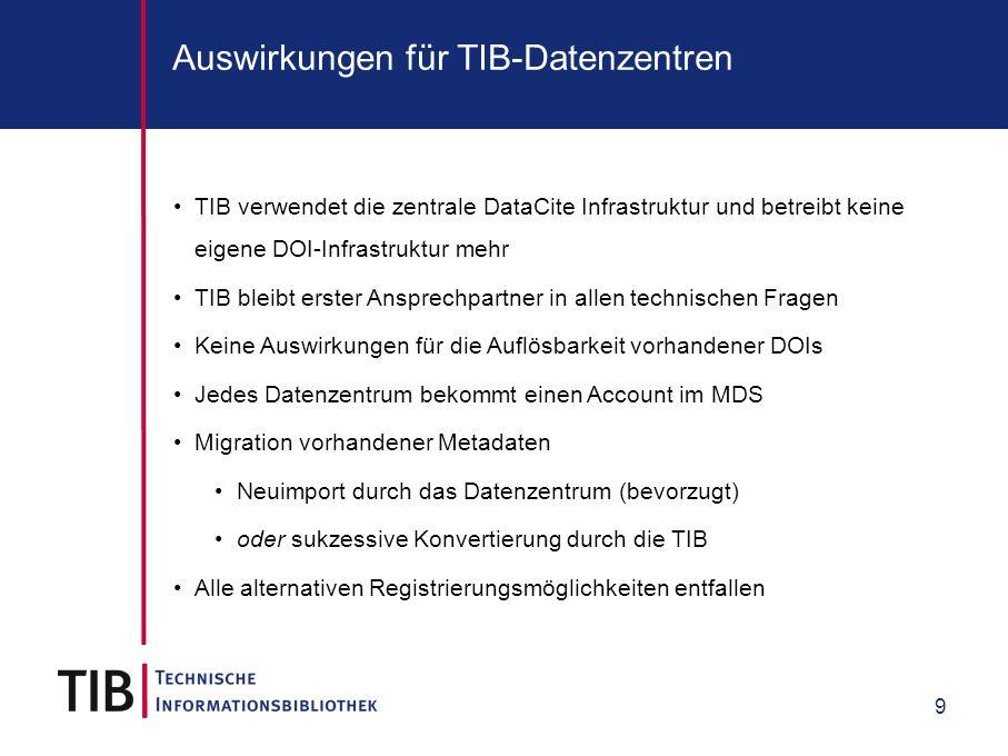 9 Auswirkungen für TIB-Datenzentren TIB verwendet die zentrale DataCite Infrastruktur und betreibt keine eigene DOI-Infrastruktur mehr TIB bleibt erster Ansprechpartner in allen technischen Fragen Keine Auswirkungen für die Auflösbarkeit vorhandener DOIs Jedes Datenzentrum bekommt einen Account im MDS Migration vorhandener Metadaten Neuimport durch das Datenzentrum (bevorzugt) oder sukzessive Konvertierung durch die TIB Alle alternativen Registrierungsmöglichkeiten entfallen