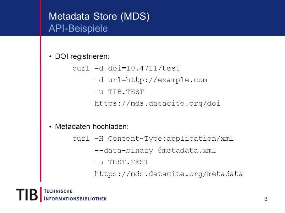 4 Volle Flexibilität durch direktes Anbieten der SOLR-Schnittstelle http://search.datacite.org/api Verschiedene Ausgabeformate: Solr XML, csv, jsonSolr XMLcsvjson Nahezu alle Felder des DataCite-Schemas durchsuchbar Komplexe Suchabfragen, beispielsweise Datensätze, die eine URN zitieren Metadatenuploads der letzten 7 Tage Für weitere Informationen siehe http://search.datacite.org/help.html Metadata Search API