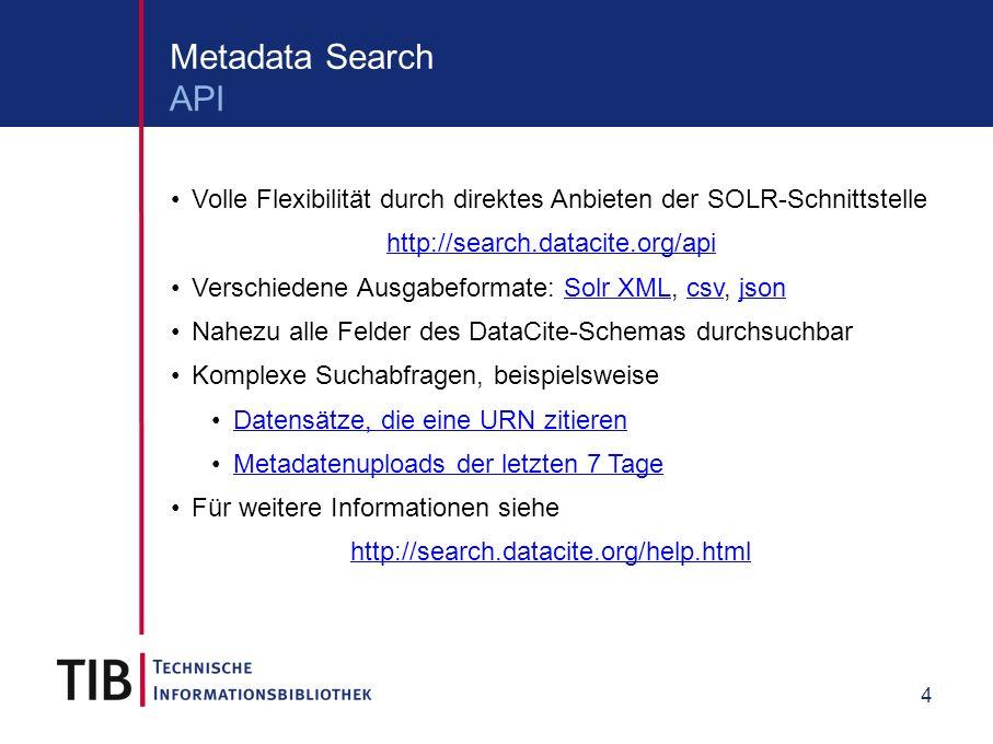 5 Content Service Konvertierung vom DataCite Schema in folgende Formate: application/x-datacite+xml (original Metadaten) application/x-datacite+text (Zitiertext) application/rdf+xml text/turtle application/x-bibtex application/x-research-info-systems Zugriffsmöglichkeiten HTML-Landing-Page (http://data.datacite.org/ )http://data.datacite.org/ Direkter Link zu einem Format (http://data.datacite.org/ / )http://data.datacite.org/ / ) Content Negotiation (via data.datacite.org oder dx.doi.org) Unterstützte Formate und Zugriffsmöglichkeiten