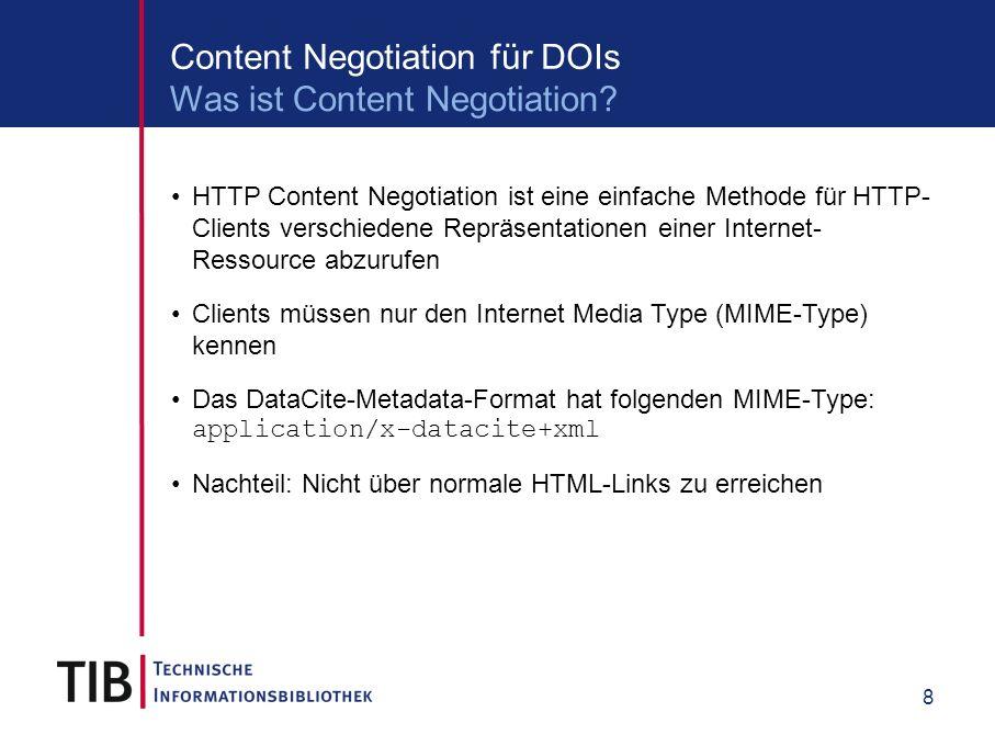9 Content Negotiation für DOIs curl -L http://dx.doi.org/10.1594/WDCC/CLM_C20_3_D3 curl -LH Accept:application/x-datacite+text http://dx.doi.org/10.1594/WDCC/CLM_C20_3_D3 Metadata abholen: GET /10.5072/TEST HTTP/1.1 Host: dx.doi.org Accept: application/x-datacite+xml DOI auflösen: GET /10.5072/TEST HTTP/1.1 Host: dx.doi.org Beispiel